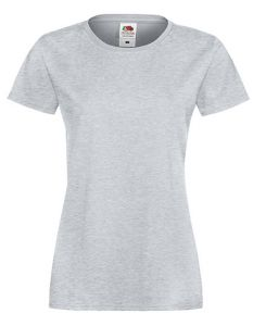 Lady fit valueweight T-heather grey -L