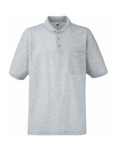Polo with breast pocket-heather grey -S